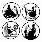 Spinning Silhouette Silhouettes Wheels Die Wheel Magnets Medallions Backed Pinback Buttons Flat Inch Similar Items Pottery Cuts Etsy Coloring Painting sketch template