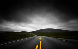 Nature, Landscape, Highway, Dark, Clouds, Mountain, Sky, Asphalt, Lines, Yellow, Black