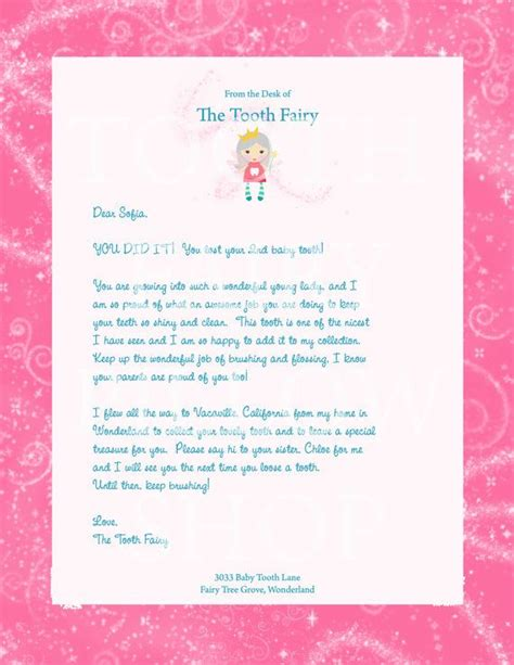 personalized tooth fairy letter  girls projects