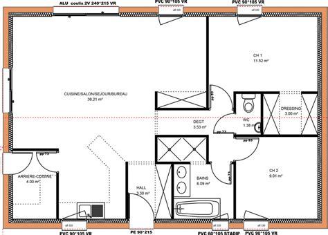 plan plain pied 2 chambres mod 232 les de maisons en projet en loire atlantique 44