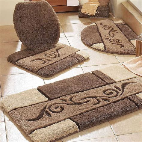 contemporary bathroom  brown bathroom rug sets  beige ceramic floor bathroom