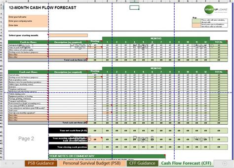 cash flow forecast supplementary personal survival