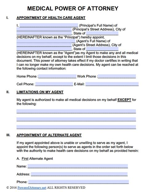 medical power  attorney forms  templates power