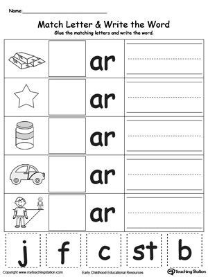 ar word family match letter and write the word