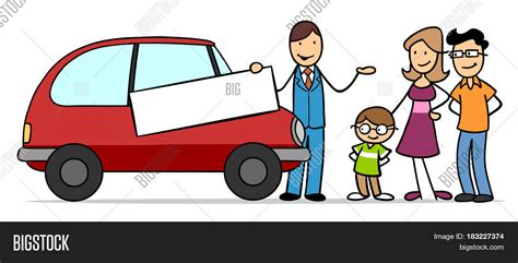 Cartoon Of Family With Car Dealer Buying A Car Stock Photo
