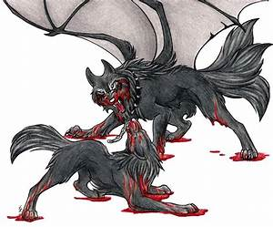 Drawn demon wolf - Pencil and in color drawn demon wolf
