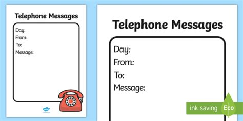 general telephone message template home corner writing