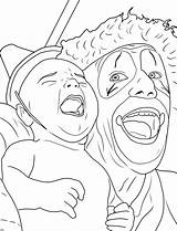 Coloring Clown Pages Creepy Adults Adult Clowns Printable Drawing Scary Insane Halloween Print Face Cute Drawings Books Posse Circus Sheets sketch template