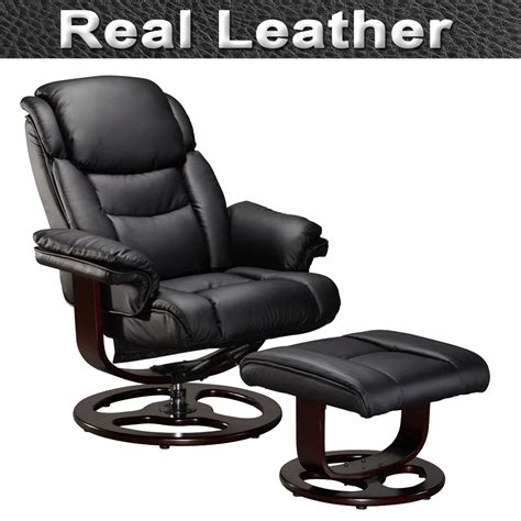 vienna real leather swivel recliner chair w foot stool