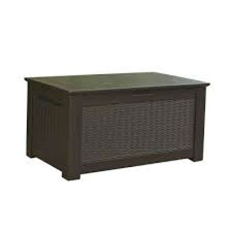 rubbermaid patio series storage bench 93 gal modern brown weather resistant resin storage