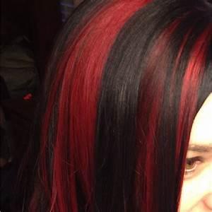 Red Streaks / Dark Hair ....love it :) | Hair | Pinterest