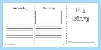 Diary Template Ks1  7 Day Diary, Writing Frame, Diary