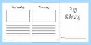 diary template ks1 7 day diary writing frame diary With diary writing template ks1