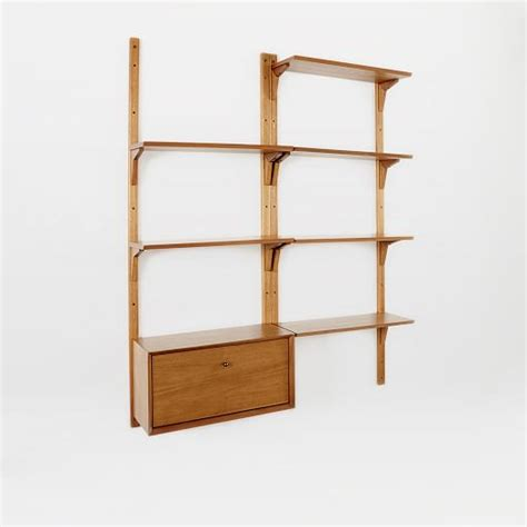 mid century wall shelf mid century wall shelving set west elm