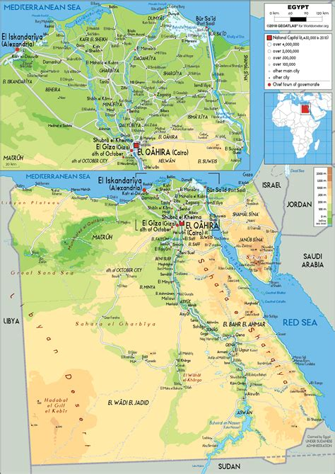 Egypt Map Physical Worldometer