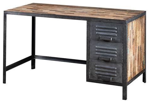 industrial style computer desk recycled wood and industrial metal locker style desk