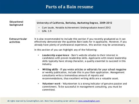 Additional Activities Resumeadditional Activities Resume by Bain Resume Sle