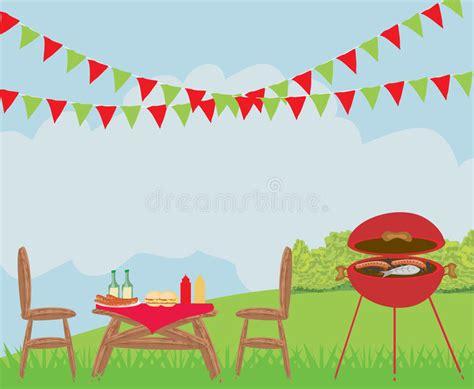 Illustration Of Backyard Barbecue Scene Stock Vector