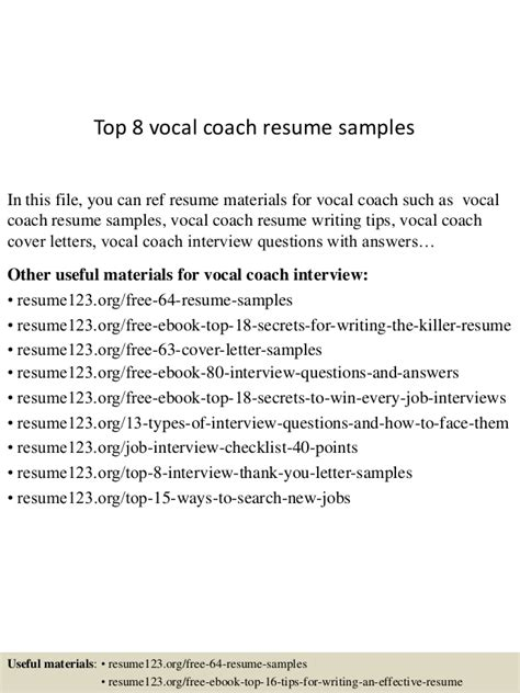 Vocal Performance Resume Template by Top 8 Vocal Coach Resume Sles