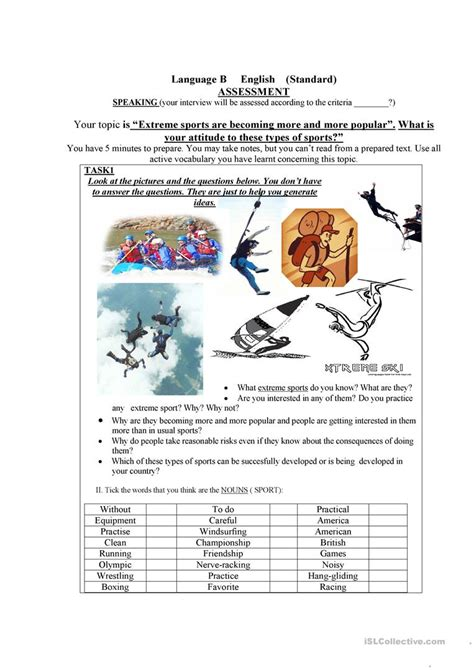 Interview+discussion Extreme Sports Worksheet  Free Esl Printable Worksheets Made By Teachers
