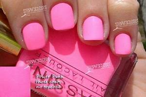 Massini Nail Lacquer in Power Pink A Pink Neon nails