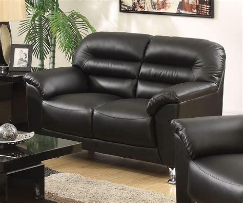 Black Faux Leather Loveseat by Asmund Modern Black Faux Leather Loveseat With Chrome Legs