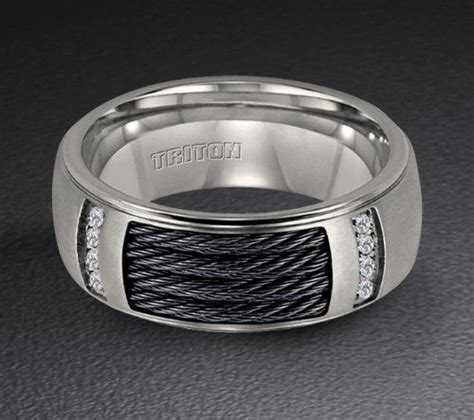 triton titanium wedding ring with nitinol cable inlay triton titanium wedding ring with nitinol cable inlay and 08 ct in diamonds 21 2220t security