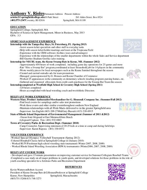 sport management experience resume sle resumes design