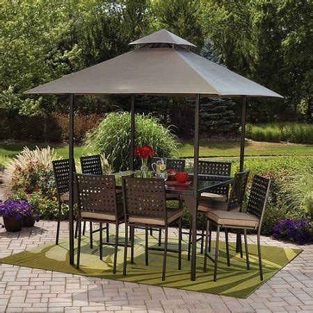 mainstays d roma 10 piece gathering height patio dining