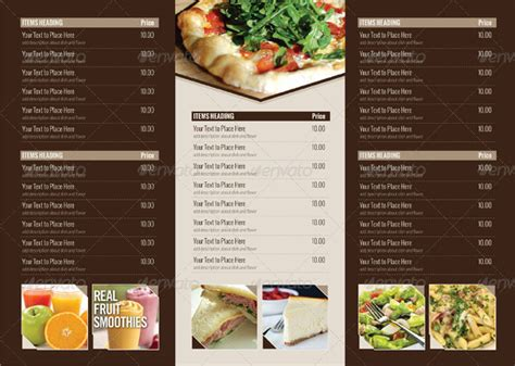 Tri Fold Restaurant Menu Templates Free by 22 Tri Fold Menu Templates Free Sle Exle Format