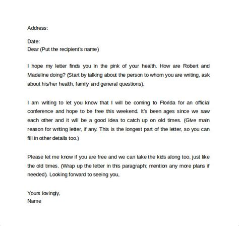 sample friendly letter format  documents   word