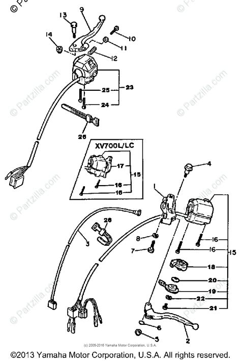 yamaha motorcycle 1984 oem parts diagram for handle switch lever partzilla