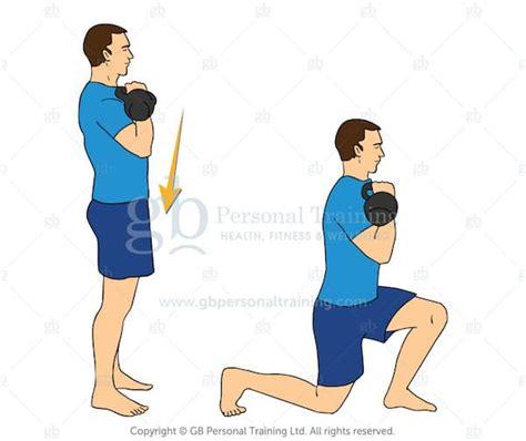 kettlebell lunge exercises reverse racked lunges beginner advanced side exercise