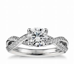 twist pave diamond engagement ring in platinum 1 4 ct tw With platinum twist wedding ring