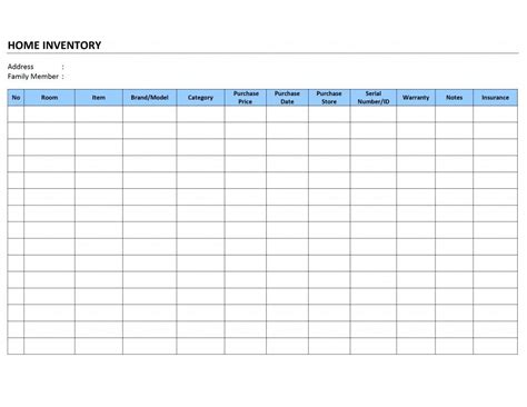 free printable home household inventory list spreadsheet