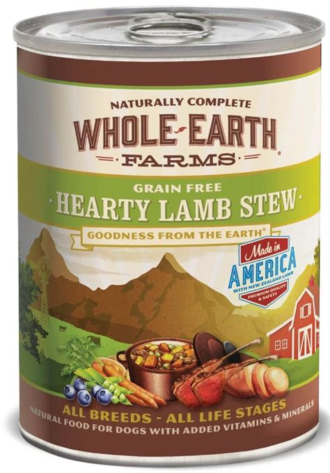 earth farms grain  hearty lamb stew canned dog