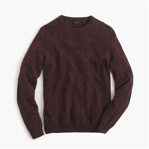 patch sweater j crew rustic merino patch sweater in brown for