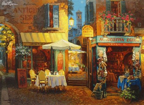 viktor shvaiko dinner  verona hand embellished giclee  canvas subject scenic
