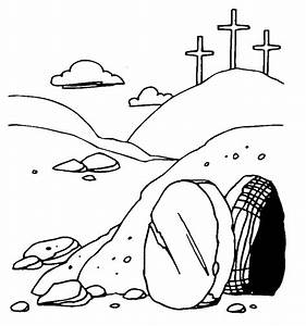 Free coloring pages of empty tomb easter