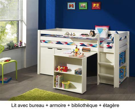 lit et bureau lit enfant combiné bureau et rangement theo en pin massif