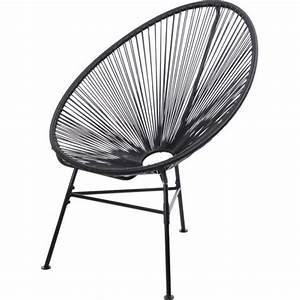 Fauteuil taupe fil nylon noir achat vente fauteuil for Fauteuil fil noir