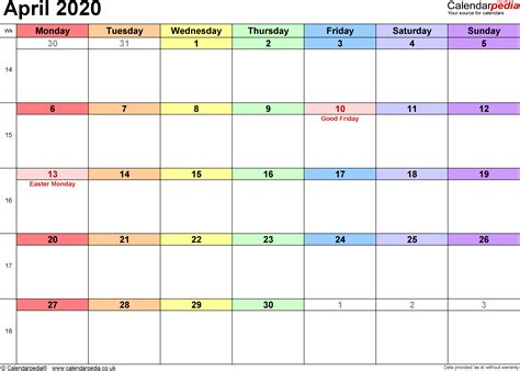 calendar april uk bank holidays excelpdfword templates