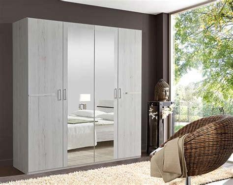 meuble armoire chambre armoire 4 portes chambre à coucher chene blanc
