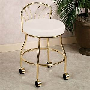flare back metallic finish vanity chair with casters With bathroom vanity stools or chairs