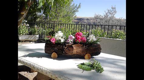 jardinera hecha  tronco de arbol youtube