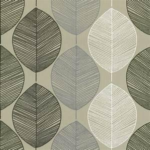 Buy Arthouse Retro Leaf Wallpaper Taupe / Beige / Cream