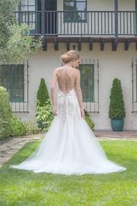 Open back wedding dress lace bridal dress tulle wedding for Fit and flare tulle wedding dress
