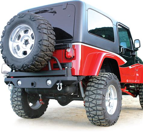 jeep wrangler yj rage products rear recovery bumper with tire swing for 87 06 jeep wrangler yj tj unlimited
