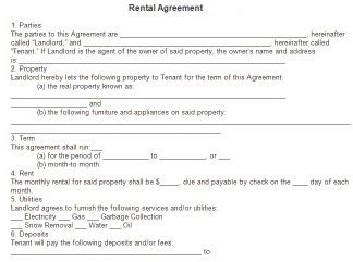 rental agreement template  printable documents