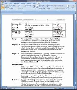 Company Policies And Procedures Template Period End Review And Closing Policy And Procedure Word Template